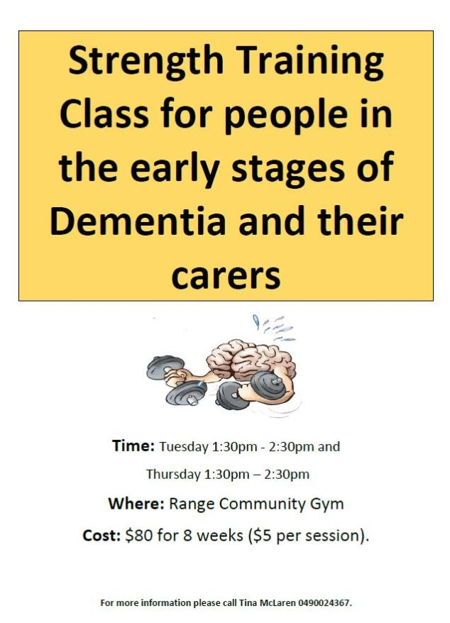 Strength Training Class for people in the early stages of Dementia